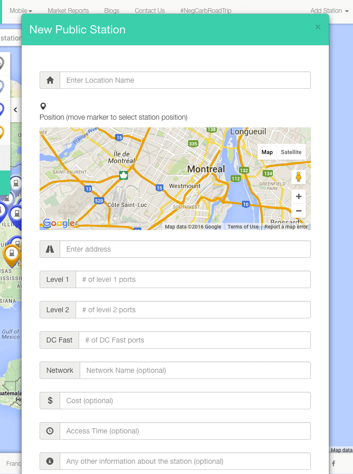 Screenshot displaying how to add a new charging station, or edit an existing station on the ChargeHub map