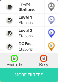 Screenshot of the ChargeHub Map filters