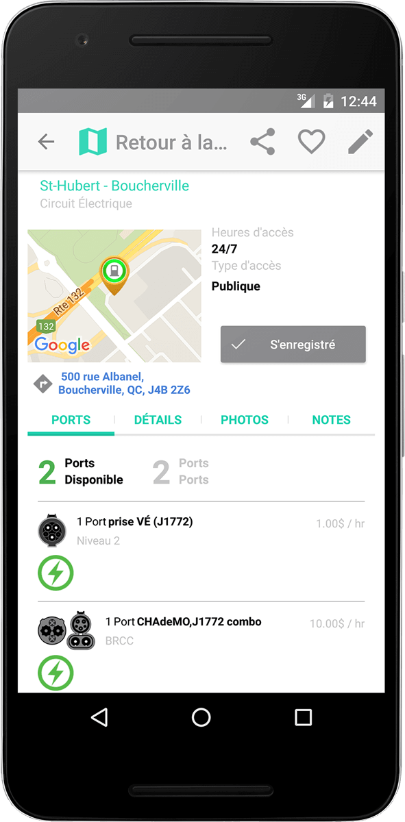 ChargeHub iOS station details screenshot