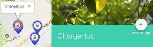 Screenshot of the ChargeHub Trip planner step-by-step directions sidebar